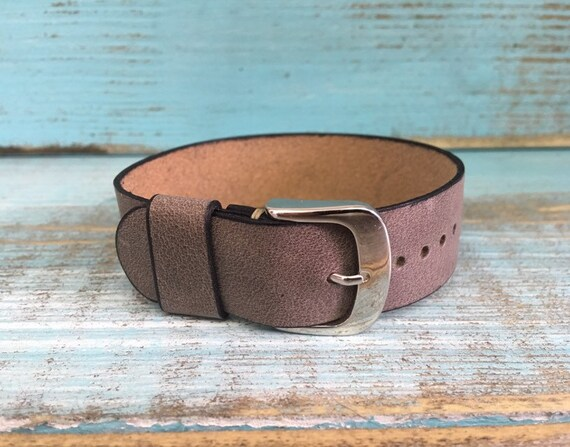 20mm Vintage Grey Italian Calf 1 piece strap