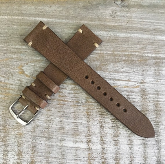 Antique Brown Italian Calf leather watch band - Simple stitch