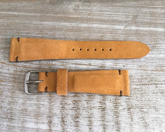 20/16mm Classic Italian Suede watch band - Camel