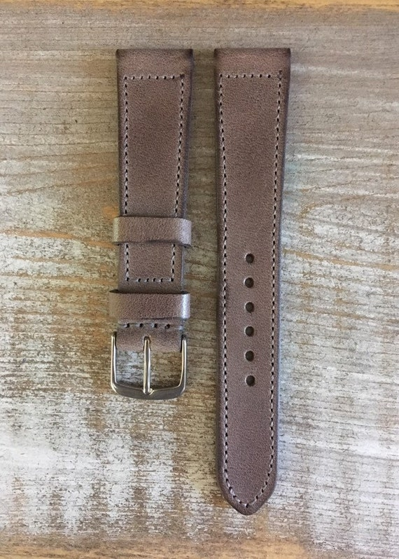 Italian Calf / full stitching watch band - Vintage grey