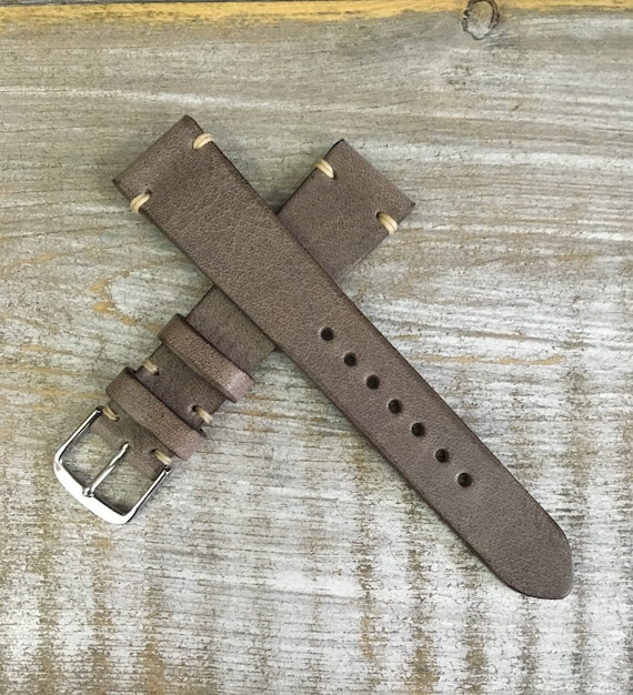 Antique Grey Italian Calf leather watch band - Simple stitch