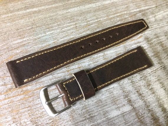 18/16mm Vintage style Italian Calf watch band - Oak brown