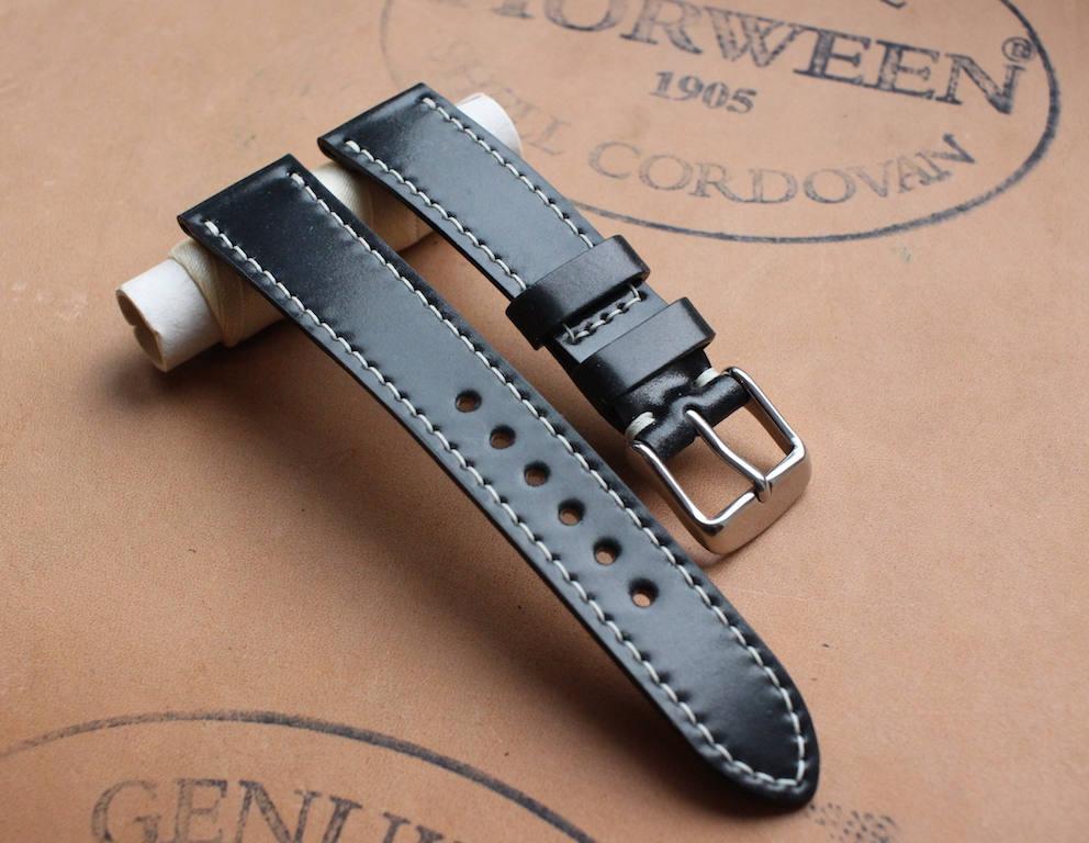 c7ecc65d2 Black Horween Shell Cordovan watch band - full stitching
