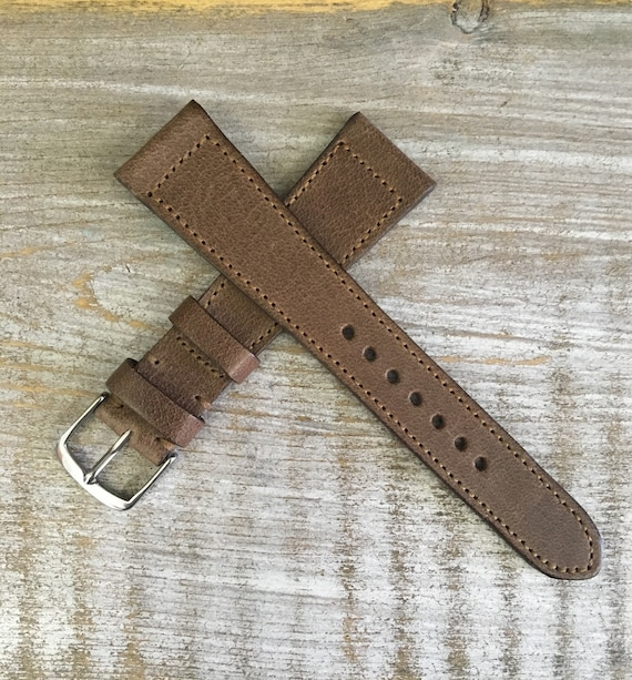 Italian Calf / full stitching watch band - Antique Brown