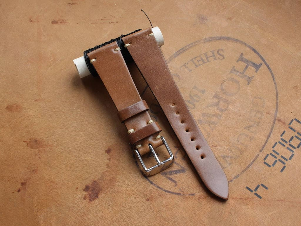 af9295ffb Bourbon Horween Shell Cordovan watch band - simple stitching