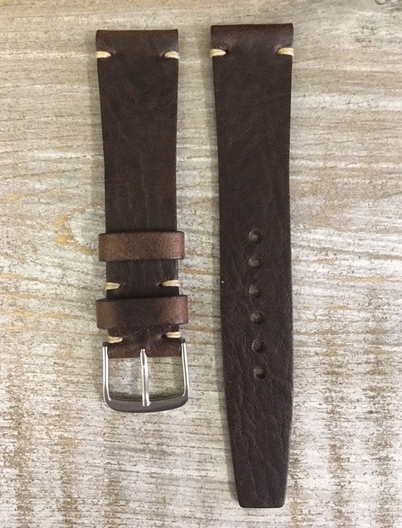 18/16mm VTG Style Italian Calf watch band - Dark Brown