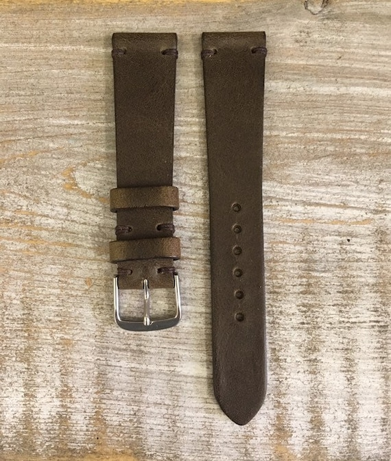 19/16mm Classic Italian Calf watch band - Antique Olive