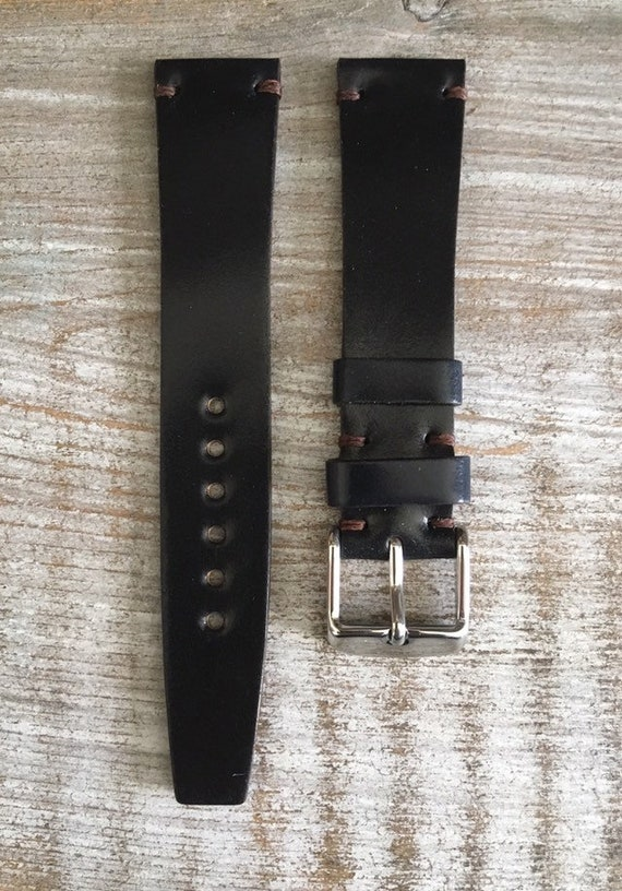 19/16mm VTG Style Black Horween Shell Cordovan watch band
