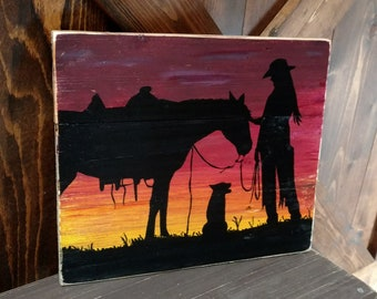 Handpainted Cowgirl with Horse and Dog on pallet wood.