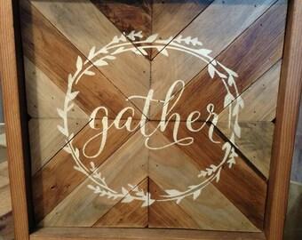 Gather, barnwood Chevron sign