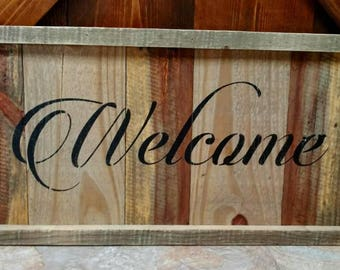 Unique pallet Welcome sign with pallet frame.