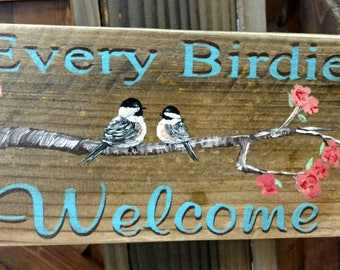 Every Birdie Welcome, hand painted pallet hanging sign