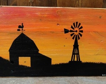 Handpainted pallet art, farm sunset with windmill silhouette