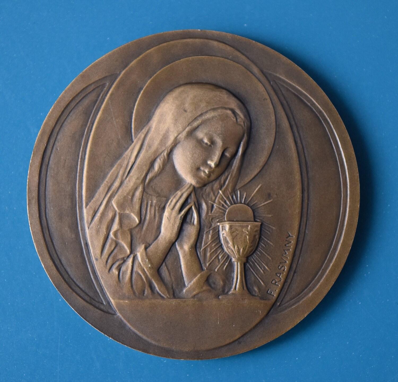 1st Communion Medallion Signed F  Rasumny Bronze 1900 Chalice Wheat Grapes  Gift Paris Exposition Universal Vintage