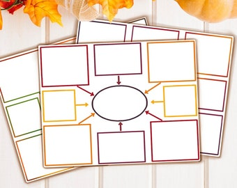 4 Basic Mind Map Templates (Fall Colors)
