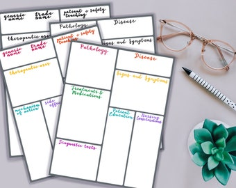 Combo Pack of Pathophysiology and Pharmacology Note Taking Templates