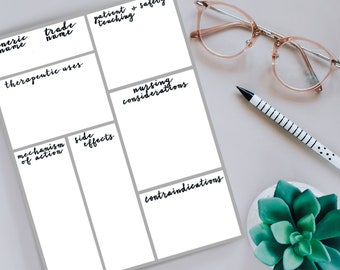 Pharmacology Graphic Organizer Printable Template for Nursing Students (Black and White)