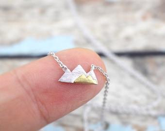 Silver Mountain Necklace, Dainty Mountain Pendant Necklace, Mountain Necklace, Birthday Gift,6026
