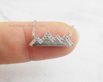 Silver Mountain Necklace, Dainty Mountain Pendant Necklace, Snowy Mountain Top Necklace,Mountain Necklace, Birthday Gift,9016