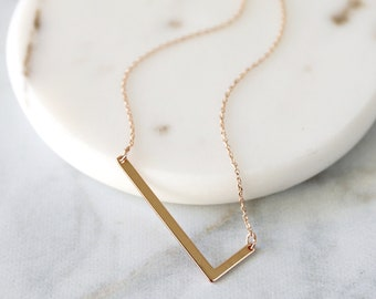 d67998f108 Large Initial Necklace, Rose Gold Sideway L Pendant Necklace, Alphabet L  Necklace, Birthday Gift, L Necklace, Mothers Day Gift