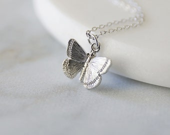 Butterfly Charm Chain Necklace Butterfly Pendant Silver Butterfly Pendant Brushed Silver Butterfly Chain Necklace Brushed Silver Chain