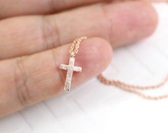 Dainty Necklace,Tiny Rose Gold  Cross Necklace,Rose Gold Cross Necklace, Gift for Best Friends,Bridal Shower Gift-JU7