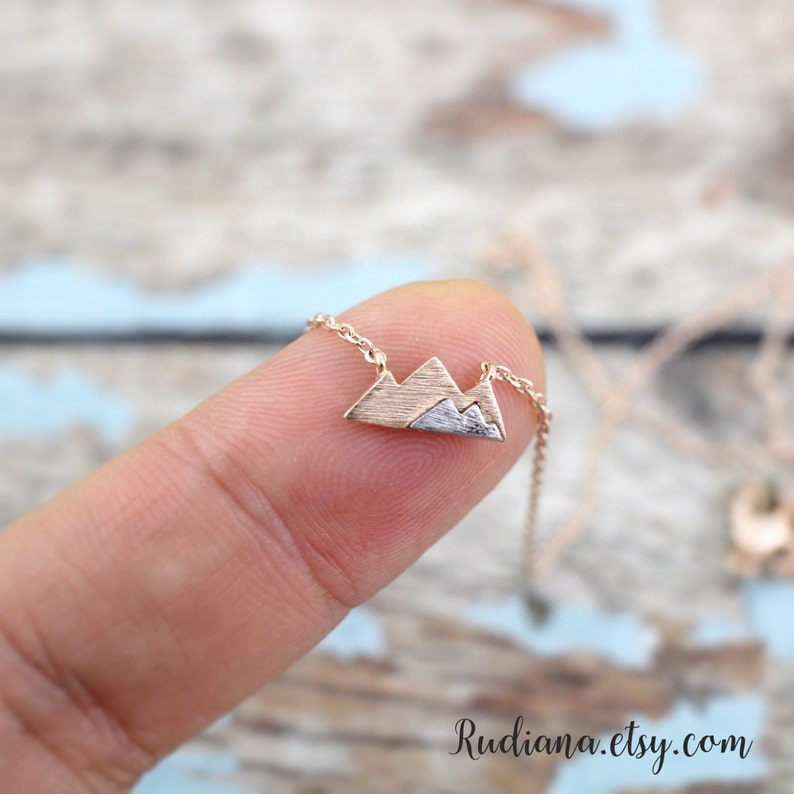 Rose Gold Mountain Necklace Dainty Mountain Pendant Necklace image 0