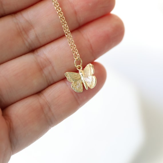 Cubic Butterfly Pendant Wedding Jewelry 2pcs  UT0008-PR Polished Rhodium Plated over Brass Cubic Zirconia Tiny Butterfly Pendant