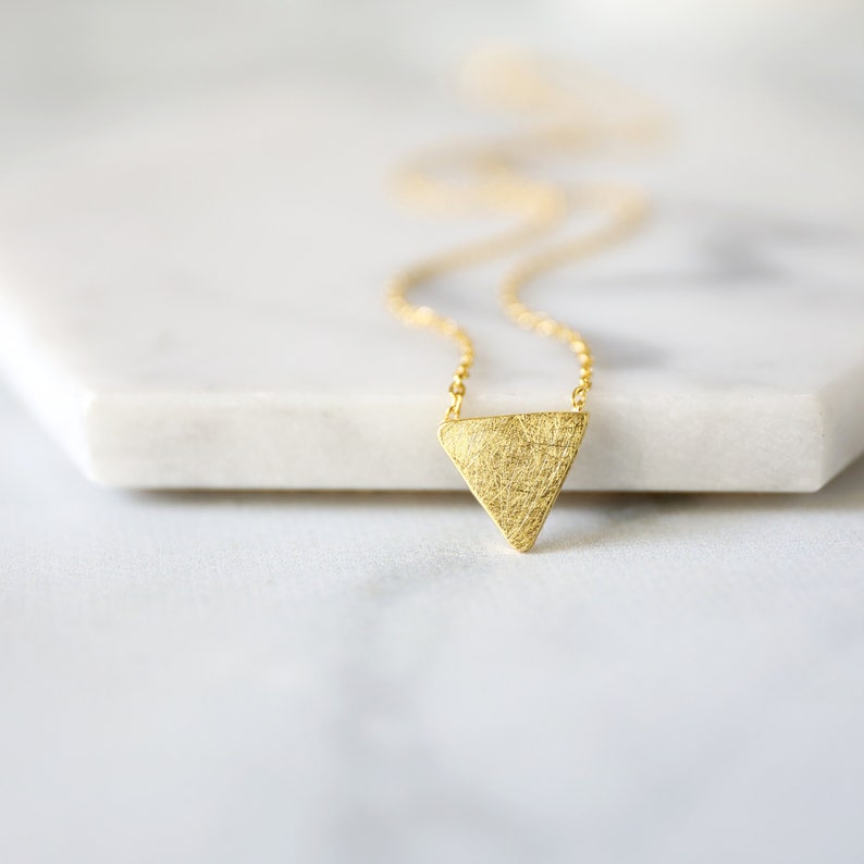 Gold Necklace Layered Necklace- 1193 Gold Brushed Triangle Charm Necklace Necklace For Work Birthday Gift