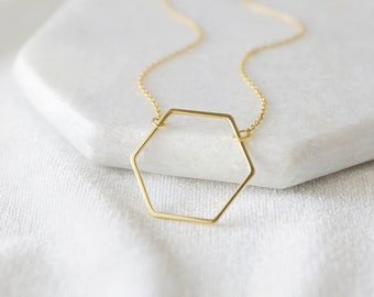 Gold Hexagon Charm Necklace, Honeycomb Necklace, Hexagon Charm Necklace,Bridesmaid Gift,Birthday Gift - JU10