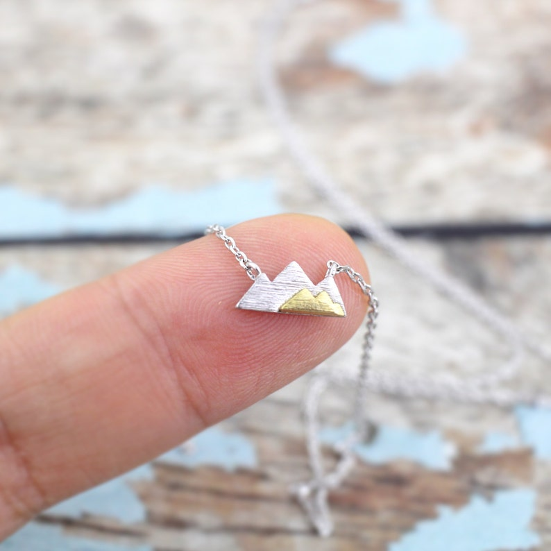 Silver Mountain Necklace Dainty Mountain Pendant Necklace image 1