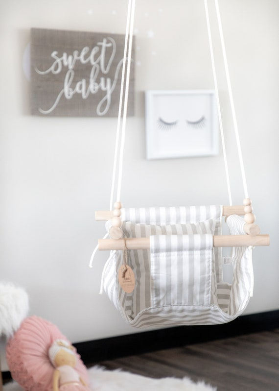 Swing Schommel Baby.Striped Fabric Baby Swing Indoor Swing Outdoor Swing Toddler Swing Porch Swing Nursery Decor Wood Swing Baby Shower Gift Natural Toy