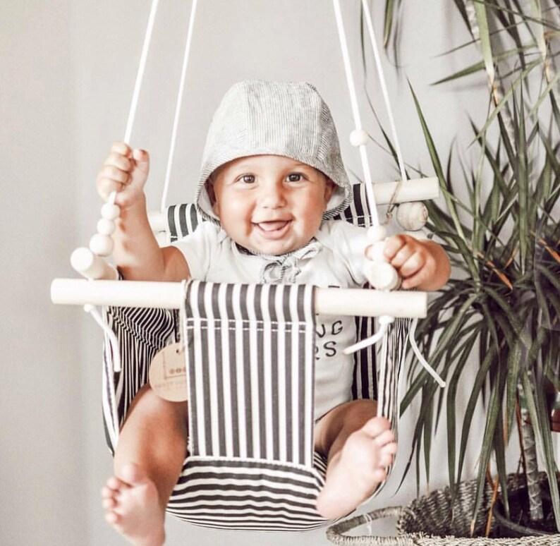 Baby Peuter Schommel.Zwart En Linnen Baby Schommel Stof Schommel Peuter Swing Etsy
