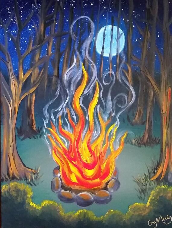Peinture acrylique originale sur toile 18 x 24 du feu de camp | Etsy