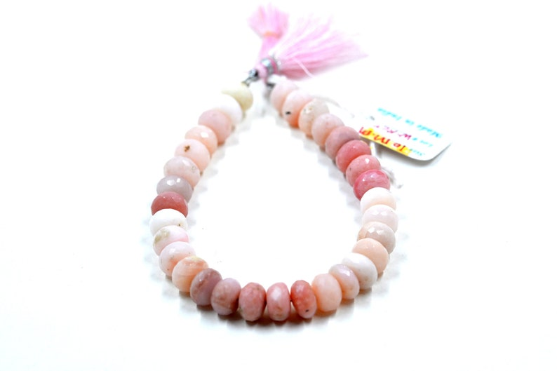 Beads Gemstone Loose Gemstone Tumbled Necklace Natural Pink Opal Faceted Rondelle Shape AA,\u00a0Genuine Pink Opal 8 Strand Gemstone Beads