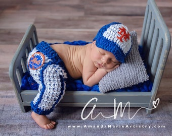 82030e220 Baseball outfit Baby Baseball Cap , pants,,, crochet baby shower gift,  Newborn Baby PHOTO PROP- NY mets baby outfit- knit photo prop