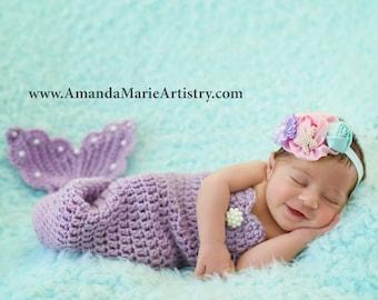 Handmaid Boutique Newborn to teen,Photography Outfit mermaid Costume Purple Mermaid Crochet photo prop set