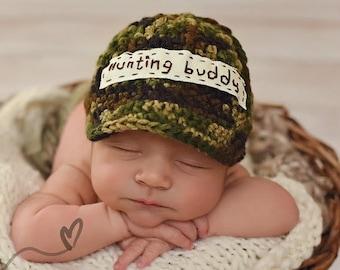 Crochet Baby Hunting Buddy hat crochet baby shower gift Newborn Photo Prop  cap BABY CAMO BEANIE Hunters Camouflage baby hat  Boys hats 8676bf59f7d