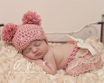 Baby Girl Pom Pom Hat   lace bow Bloomer..Crochet pearl pom pom Hat..  vintage Girl Photography Prop .. infant hat 9b20dace427a