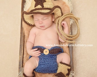 Baby cowboy hat - Baby Cowboy Outfit - baby cowboy boots - baby photo prop  - cowboy boots - baby photo prop.. crochet baby shower gift . e6bf9aef212