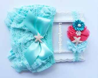 Little Mermaid embroidered bloomers with matching double ribbon bows Baby Bloomers Ariel birthday bloomers