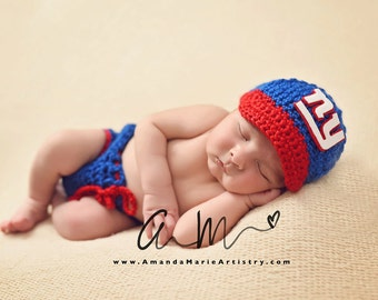 c1cd38920 Baby Boy New York Giants Football Cap, Diaper Cover --Baby Football  outfit-- crochet baby shower gift--Baby Newborn Photo Prop