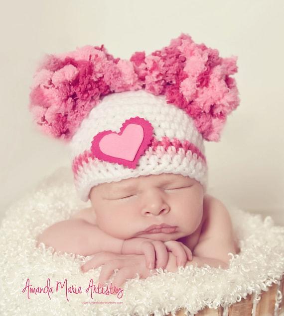 2e1dfc1b0 Baby Girl Pom Pom Hat Valentine Hat Newborn Baby Girl Crochet Hat  Photography Prop Valentines Day Heart Hearts PINK infant hat girl hats