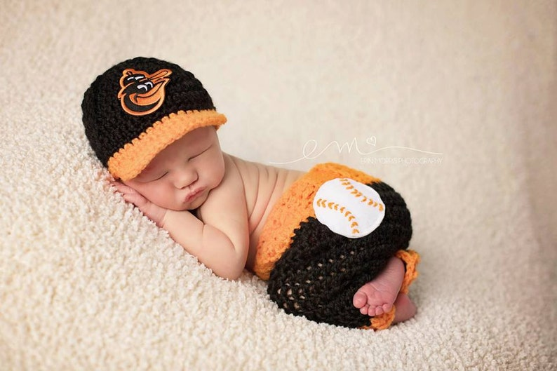 4113db97a77 Baby Boy Hat Crochet Baltimore Orioles Baseball cap and