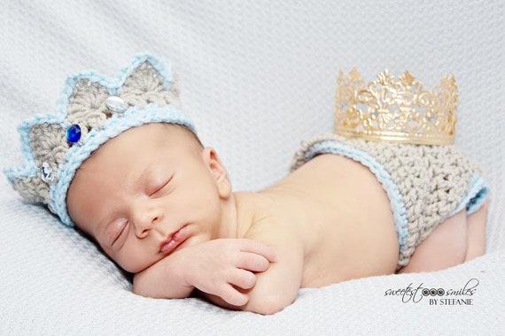 Crochet Baby Prince Crown Crochet Diaper Cover Set Crochet Crown Outfit Black