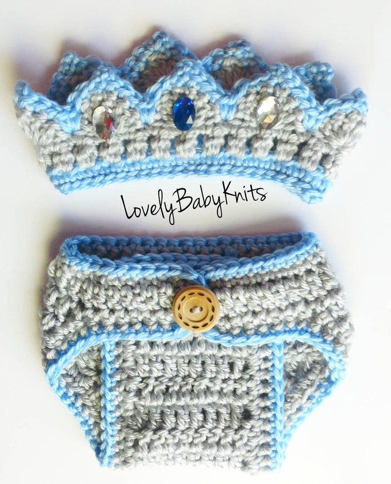 Newborn Photo Prop King Crown Hat Prince,Blue silver crown Diaper cover Crochet Crown Newborn Boy -Baby King Outfit Baby Crown