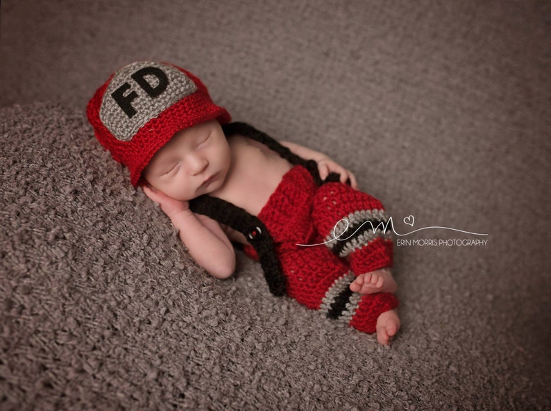 a13bb1c35 Baby Boy, Newborn Baby Firefighter Fireman Hat Outfit,Pants Set  w/Suspenders , Photography Prop- baby Boy Clothes- Infant, Baby Accessories