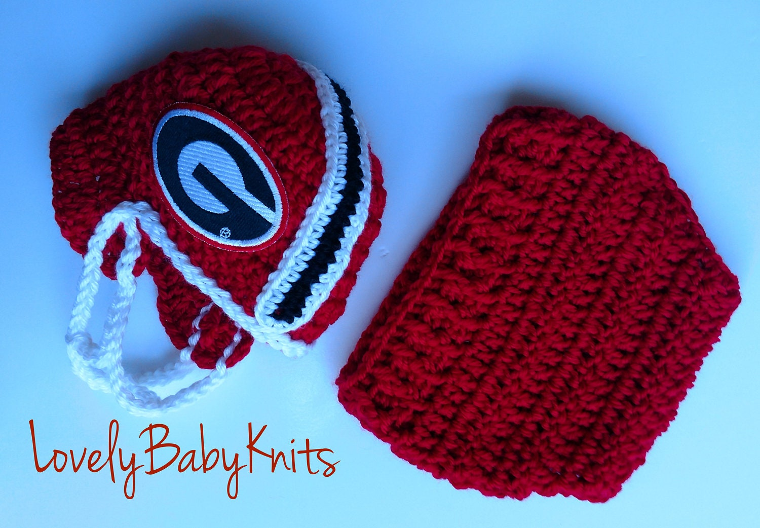 Football Team Crochet Georgia Bulldogs Helmet Diaper Etsy