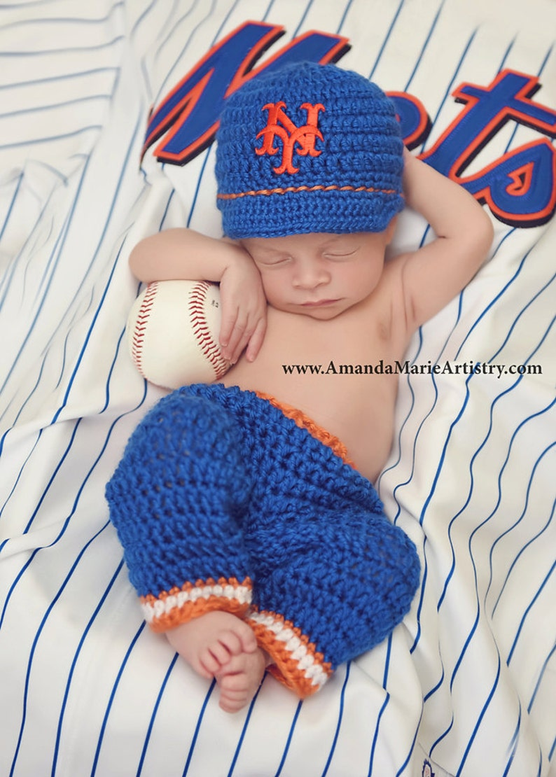 6c9a4892d Baby Boy New York Mets Baseball Cap , Diaper cover or pants set - crochet -  Baseball outfit- Baby Gift--Coming Home Outfit