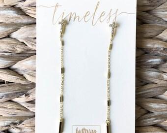 Blake Cross Earrings || Timeless Collection || 14k Gold Dipped Earrings